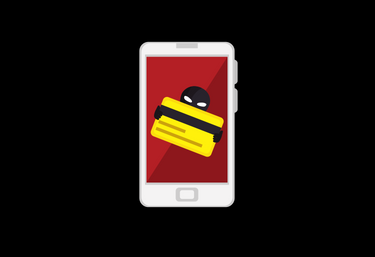 Illustrated mobile phone with thief holding credit card.